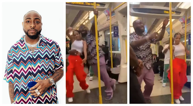 Davido spotted dancing with an Unknown lady in a Moving train in London (Video)