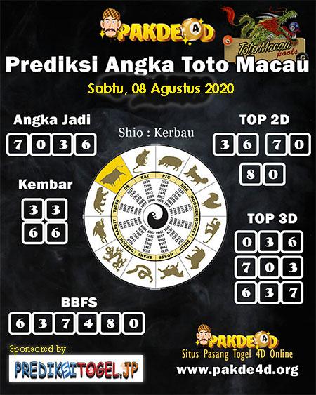 Prediksi Angka Pakde 4D Toto Macau Sabtu 08 Agustus 2020