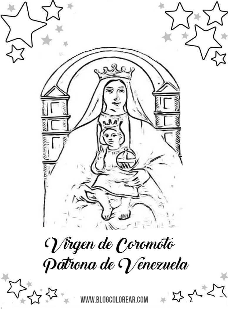 dibujos colorear virgen de coromoto