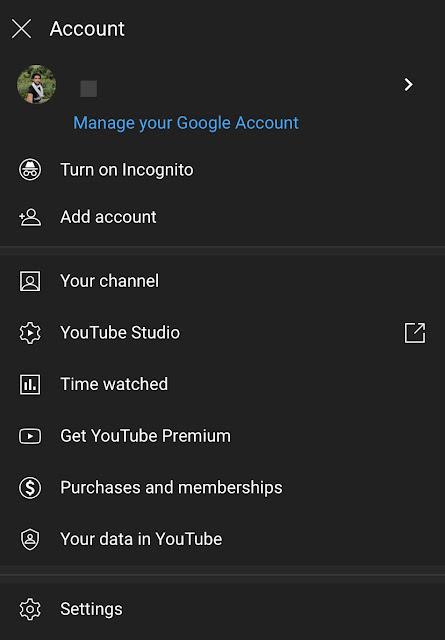 YouTube account settings