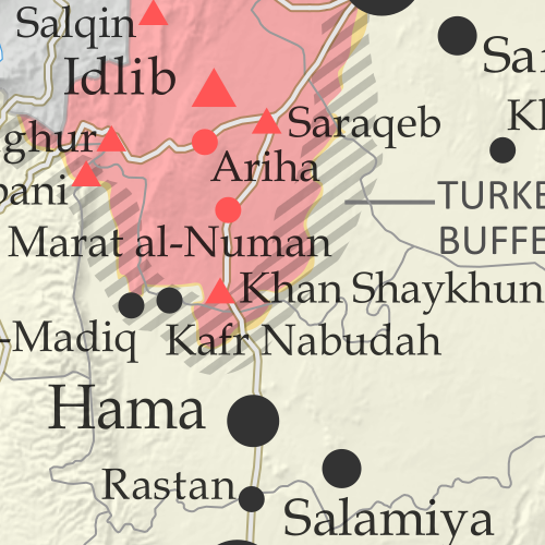 Map of Syrian Civil War (Syria control map): Territorial control in Syria in August 2019 (Free Syrian Army rebels, Kurdish YPG, Syrian Democratic Forces (SDF), Hayat Tahrir al-Sham (HTS / Al-Nusra Front), Islamic State (ISIS/ISIL), and others). Includes US deconfliction zone and Turkey-Russia demilitarized buffer zone, plus recent locations of conflict and territorial control changes, including Khan Shaykhun, Kabani, and more. Colorblind accessible.