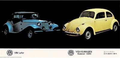 Um MP Lafer Ti 1979 (identificado no Japão como VW Lafer) e um VW Sedan, conhecido no Brasil como Fusca.