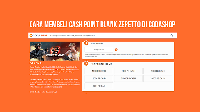 Cara Membeli Cash Point Blank Zepetto di Codashop