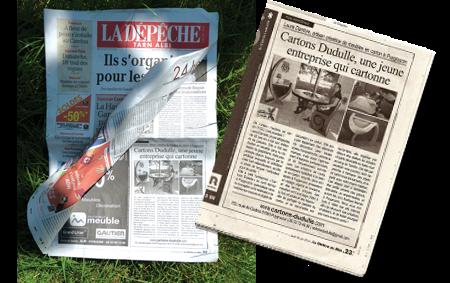 Article sur Cartons Dudulle - journal Dépêche 30 juin 2016 - demarrage activité creation de meubles et objets de décoration en carton et stage de création d'objets et meubles en carton