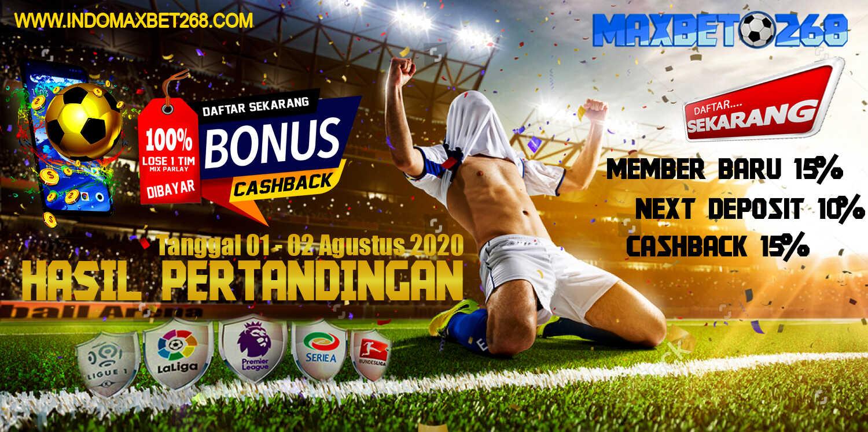 Hasil Pertandingan Sepakbola Tanggal 01 - 02 Agustus 2020