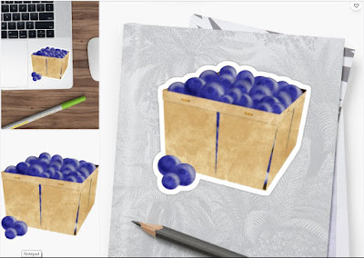 Basket of Blueberries Watercolor Sticker