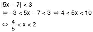 Nilai x yang memenuhi |5x - 7|