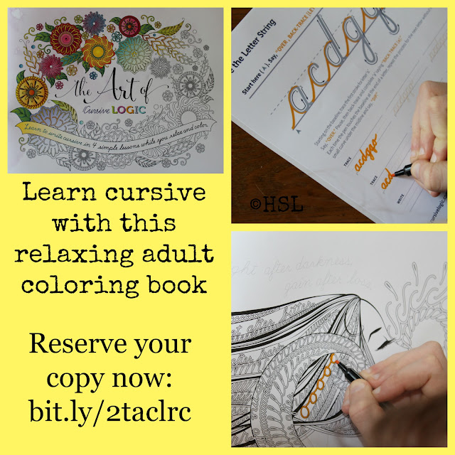 cursive, adult coloring, handwriting, cursive logic