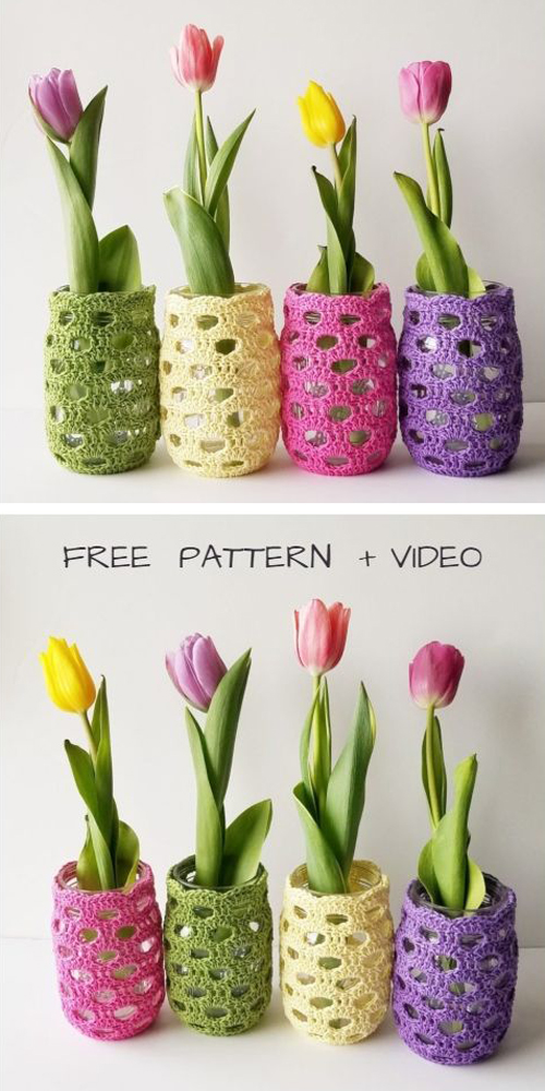 Spring Mason Jar Cozy - Free Crochet Patterns + Video
