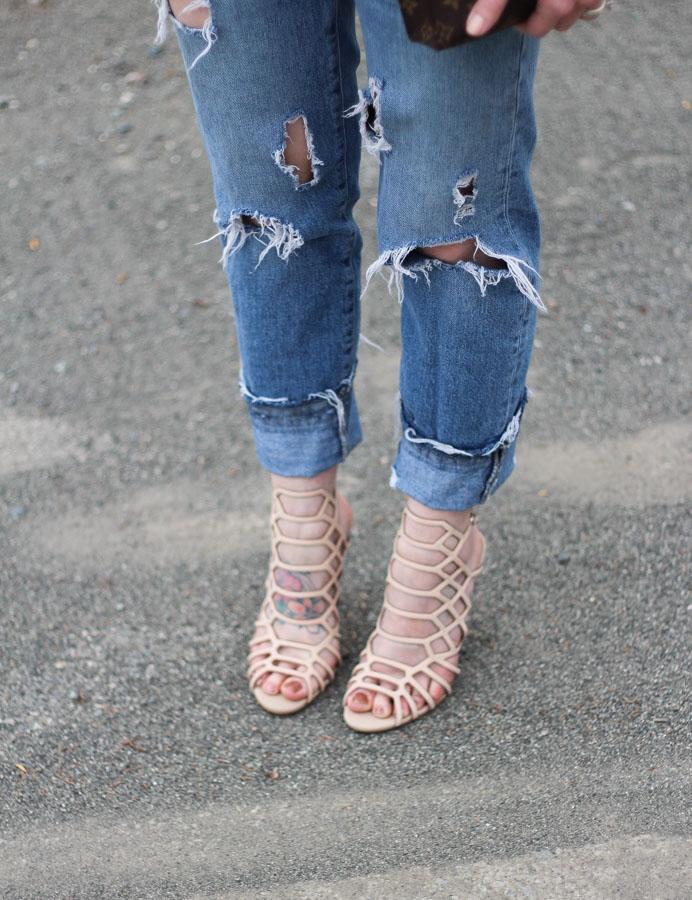 Nude caged heels- steve madden