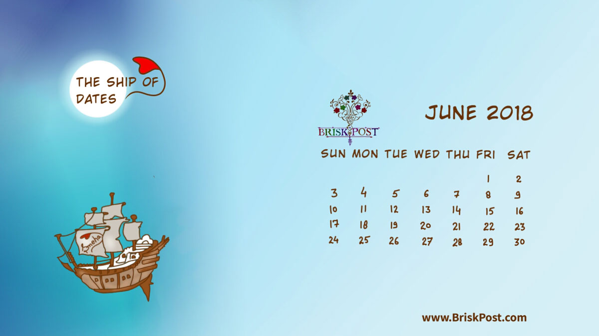 Monthly view of June 2018 Calendar with theme illustration of ship in wild sea in midnight moon