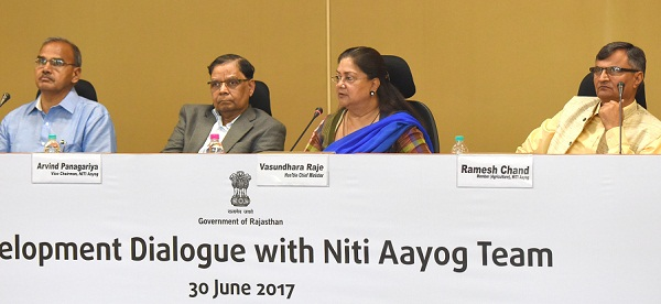 Jaipur, Rajasthan, Chief Minister, Vasundhara Raje, NITI Aayog, Arvind Panagaria, Development Dialog with Niti Aayog