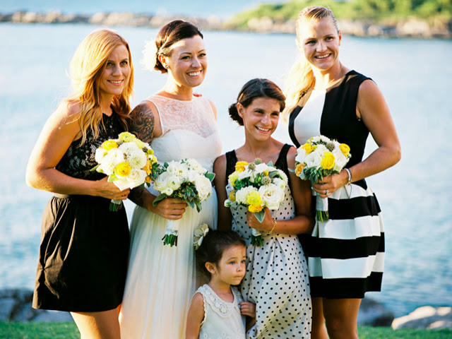 a bride and her bridesmaids together in kapalua maui
