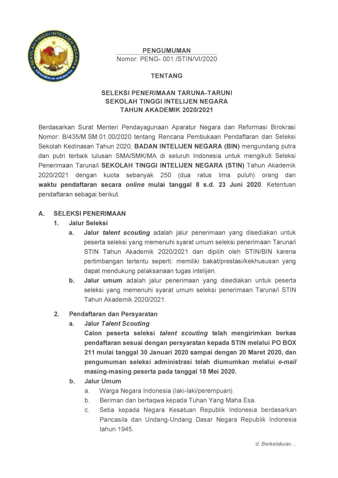 Penerimaan Ikatan Dinas STIN Badan Intelijen Negara Juni 2020
