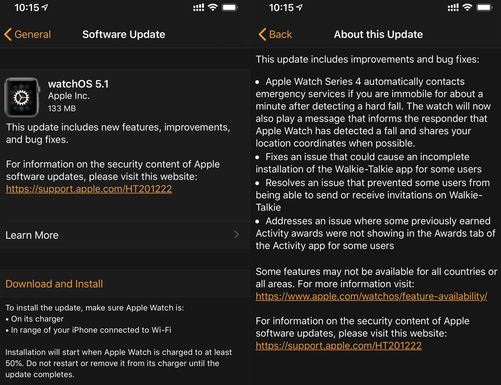 Apple watchOS 5.1 Final Features Changelog