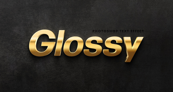 Glossy Gold Text Effect Template PSD MockUp