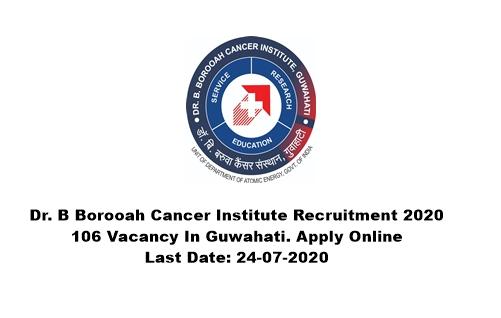 Dr. B Borooah Cancer Institute Recruitment 2020: 106 Vacancy In Guwahati. Apply Online. Last Date: 24-07-2020