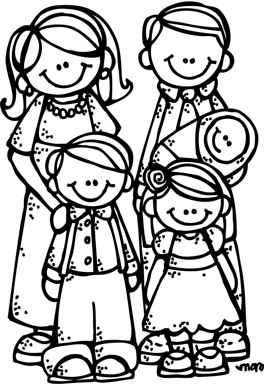 family coloring page - melonheadz lds illustrating new eternal family graphics