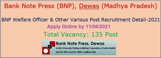 Job vacancy in Bank Note Press Dewas 2021