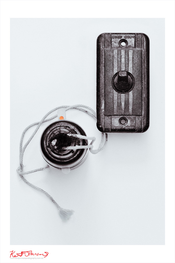 Bakelite Electrical Components - Art Deco Light Switch and Lamp Light Holder. Black and White Still Life Photography.