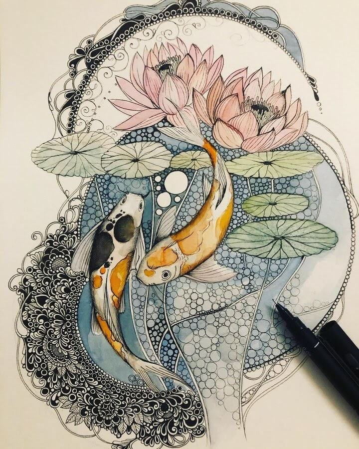 03-Fish-and-lily-pads-sinArt-www-designstack-co
