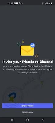 دعوة الاصدقاء الي تطبيق ديسكورد