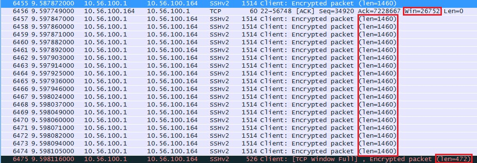 Wireshark Capture TCP Window Full