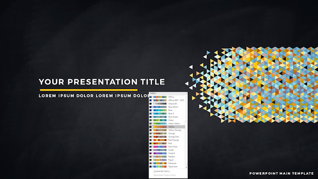 Polygonal Presentation Title Background Free PowerPoint Template with Yellow Color Scheme