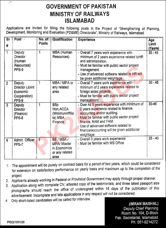 Ministry Of Railways Islamabad Jobs 11 September 2020