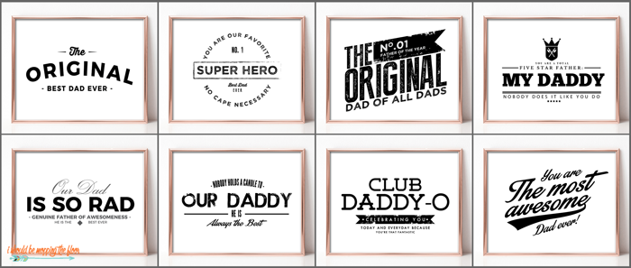 Vintage Father's Day Printables | These EIGHT retro-logo-style printables are perfect for all of the dads! Frame and gift.