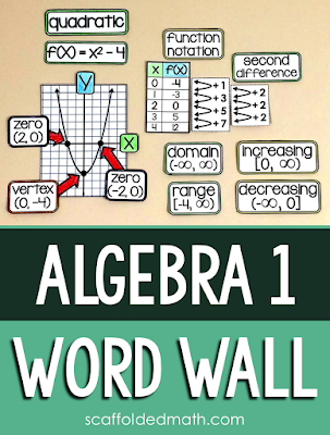 This algebra 1 word wall started as a way to help my students link nonlinear functions back to what they learned in algebra. Over the years it has morphed into a supplement for an algebra curriculum, showing algebra 1 topics in action through visual examples and pictures. I have heard from so many algebra teachers how presenting the vocabulary this way has been helpful for their visual and English language learners.