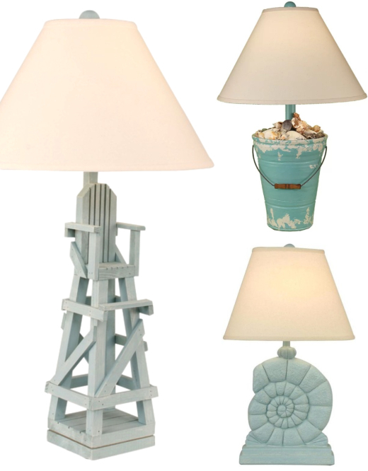 Quirky Coastal Beach Theme Table Lamps