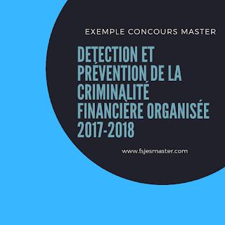 Master Détection et Prévention de la criminalité financière organisée 2017-2018