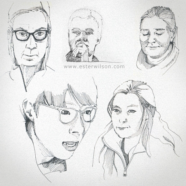 Portraits of facial expressions in a sketchbook