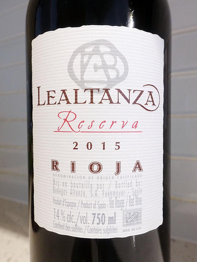 Lealtanza Reserva 2015 (90 pts)
