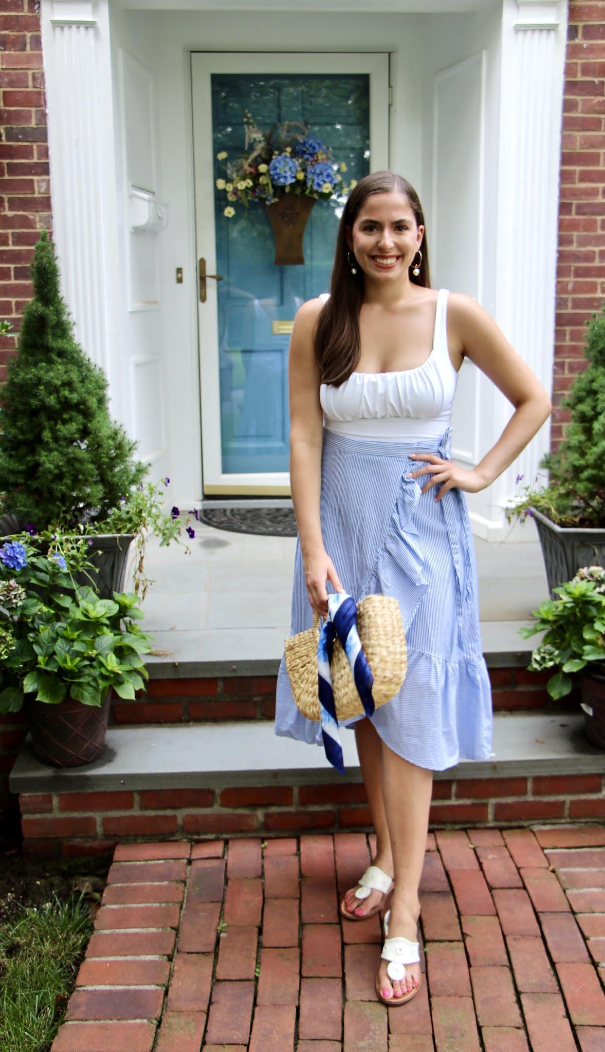bodysuit, blue midi skirt, straw tote, jcrew
