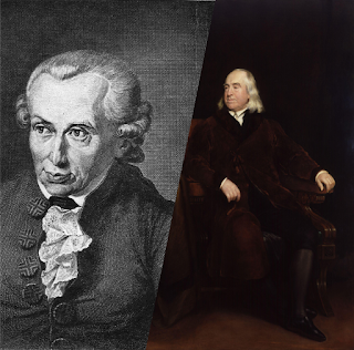 Portraits of Immanuel Kant and Jeremy Bentham.