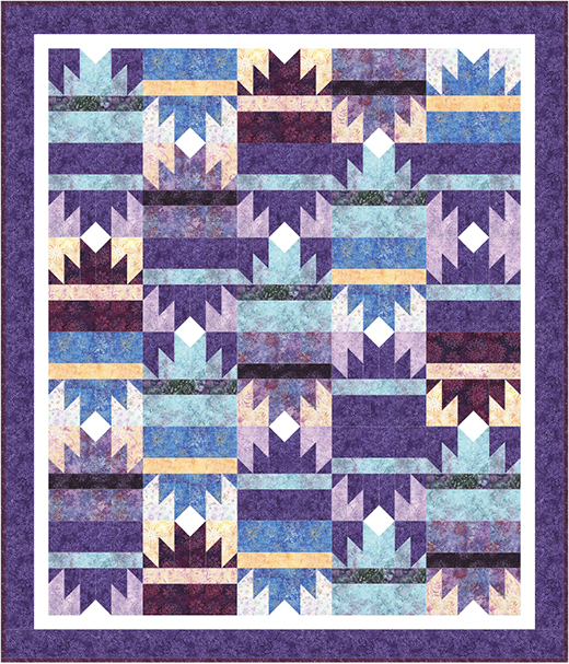 Pyramidal Crystals Quilt Free Pattern designed by Denise Russell of Pieced Brain Quilt Designs