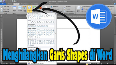 cara menghilangkan garis shapes di ms word