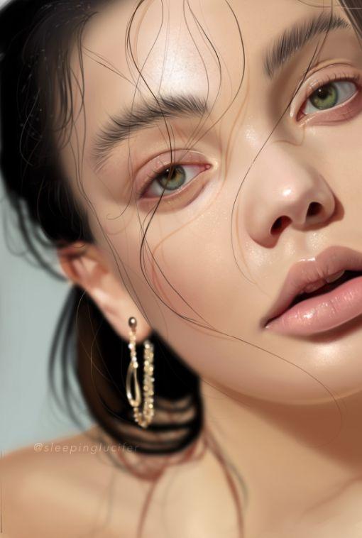 Ewelina Kowalczyk artstation instagram arte pinturas hiper realistas retratos mulheres modelos beleza