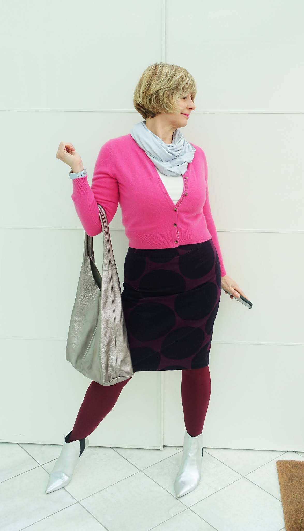 Silver and pink with a burgundy and navy patterned skirt, as worn by over 50s blogger Gail Hanlon