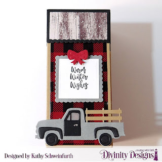 Stamp/Die Duos: Deer Ornament, Custom Dies: Treat Tower, Pickup Truck, Scalloped Square, Squares, Paper Collection:  Rustic Christmas