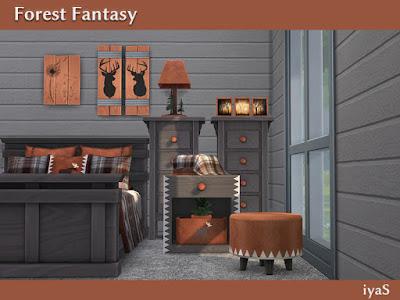 Forest Fantasy Лесная фантазия для The Sims 4 Бревенчатая спальня. Набор имеет 3 цветовых вариации. Включает 12 объектов: - кровать, - покрывало, - 2 вида постельных подушек, - комод, - стол, - настольный светильник, - пуф, - 3 картины в деревенском стиле, - коробка с тканью. Автор: soloriya