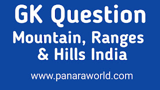 Important Mountains,Hills Highest Peak In India