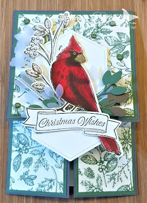 Christmas Card, Toile Christmas, Toile tidings, Double dutch card, fun fold, fancy fold, #loveitchopit, Rhapsodyincraft, Stampin' Up, Heart of Christmas, 2019 Holiday Catalogue