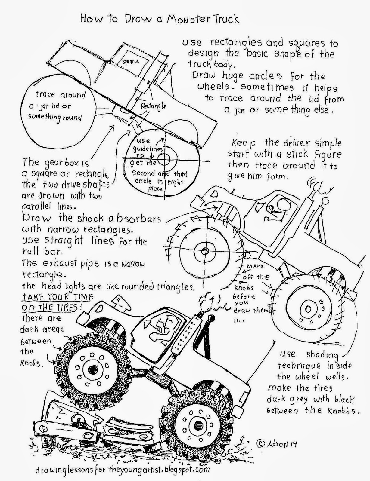 How To Draw Worksheets For The Young Artist How To Draw A Monster Truck Worksheet
