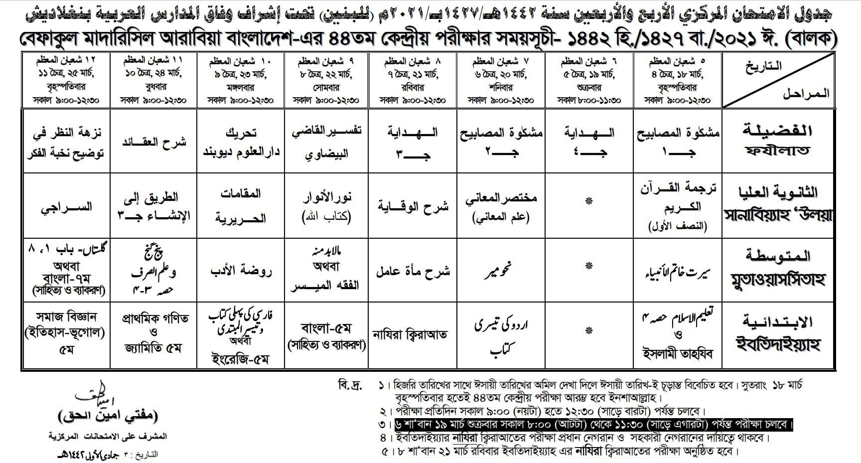 44th Befaq Routine 2021 | ৪৪ তম বেফাক পরীক্ষার রুটিন ২০২১ পুরুষ বিভাগ