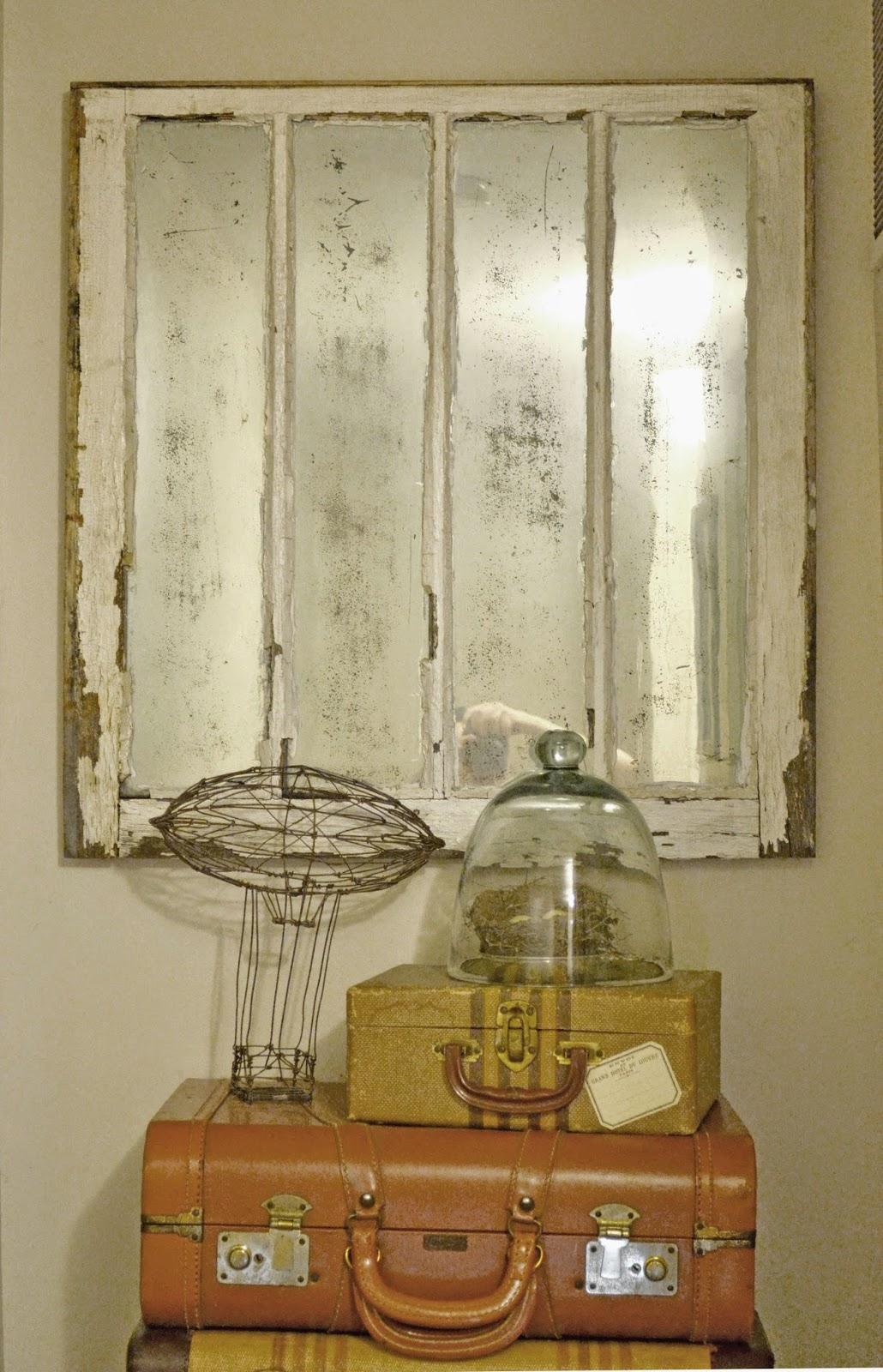 Liz Mathews Mercury Glass Window Pane Mirror