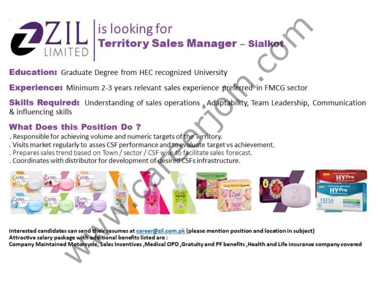 ZIL Limited Jobs Territory Sales Manager TSM