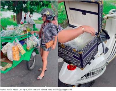 Sangat Mewah Wanita Ini Belanja Tempe Pakai Vespa Christian Dior Seharga Rp 1,35 pake M